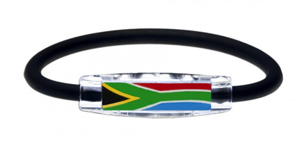 IonLoop's South Africa Flag Bracelet with Magnets & Negative Ions (front view)