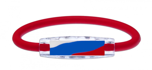 IonLoop's Russia Flag Bracelet with Magnets & Negative Ions (front view)