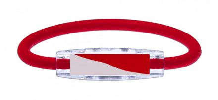 IonLoop's Indonesia Flag Bracelet with Magnets & Negative Ions (front view)