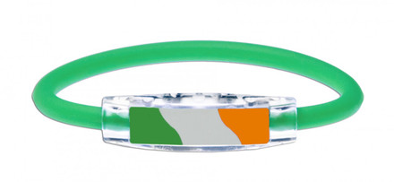 IonLoop's Ireland Flag Bracelet with Magnets & Negative Ions (front view)
