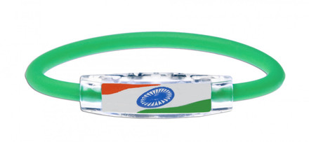 IonLoop's India Flag Bracelet wit Magnets & Negative Ions (front view)