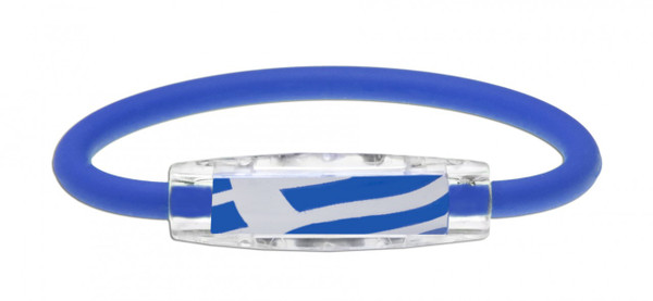 IonLoop's Greece Flag Bracelet with Magnets & Negative Ions (front view)