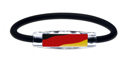 Germany Flag Bracelet with Magnets & Negative Ions (front view)