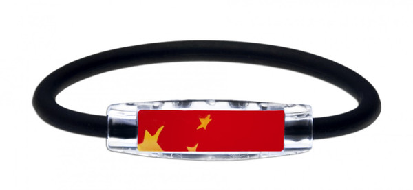 IonLoop's China Flag Bracelet with Magnets & Negative Ions (front view)
