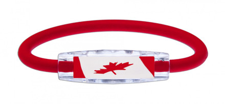 IonLoop's Canada Flag Bracelet with Magnets & Negative Ions (front view)