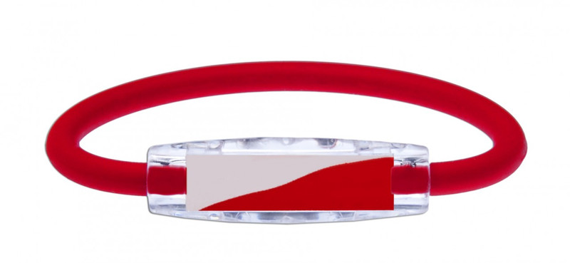 IonLoop's Poland Flag Bracelet with Magnets & Negative Ions (front view)