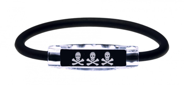 The IonLoop Skull and Crossbones Bracelet contains negative ions and magnets. (front view)