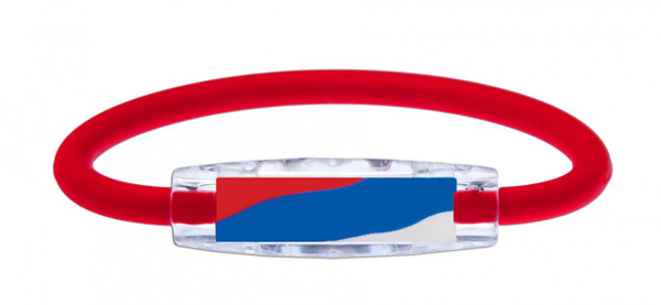 IonLoop's Puerto Rico Flag Bracelet with Magnets & Negative Ions (front view)