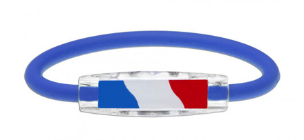 IonLoop's France Flag Bracelet with Magnets & Negative Ions (front view)