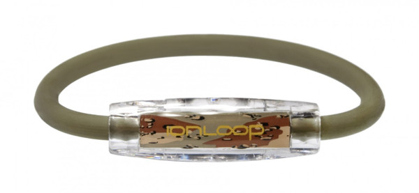 The IonLoop Camo Bracelet contains negative ions and magnets. (front view)