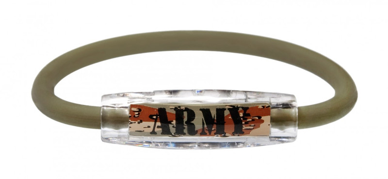 The IonLoop Army Bracelet contains negative ions and magnets. (front view)
