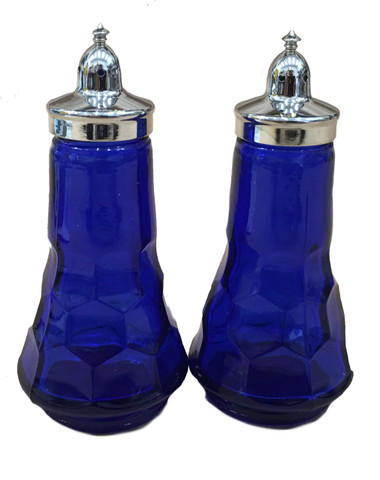 Al Johnson's Blue Glass Salt & Pepper Set