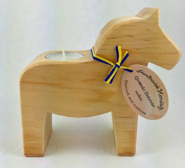 Wood Dala Horse Candle Holder