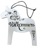 Dala Horse Vålkommen sign (white)