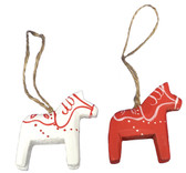 Red & White Dalahorse Ornaments