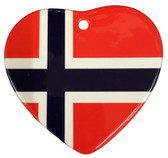 Norwegian Flag Heart Ceramic Ornament