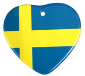 Swedish Flag Heart Ceramic Ornament