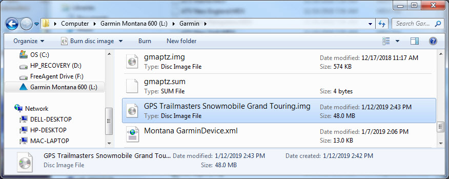 Copy Garmin img files to GPS