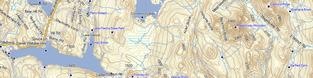 Free Topographical Map Of North East Us - Topo-map-us