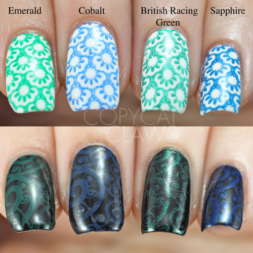Swatches courtesy of Copycat Claws | GIRLY BITS COSMETICS Cobalt Blue Stamping Polish