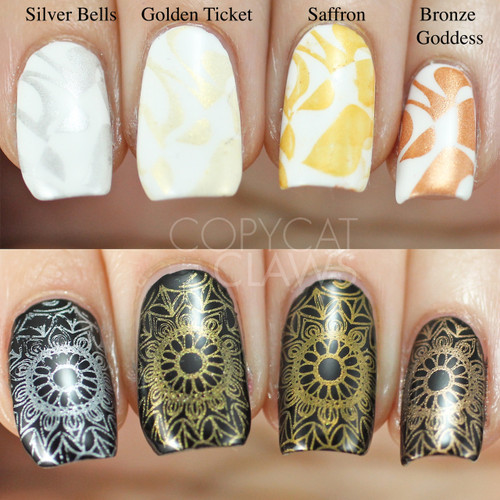 Swatches courtesy of Copycat Claws | GIRLY BITS COSMETICS Golden Ticket Stamping Polish
