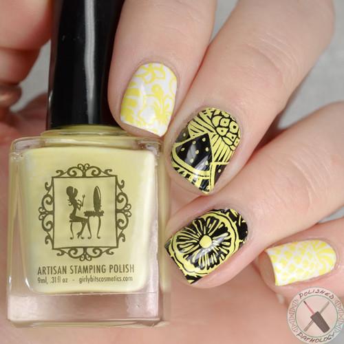 Silly Daffodilly stamping polish by Girly Bits Cosmetics | Photo by Polished Pathology