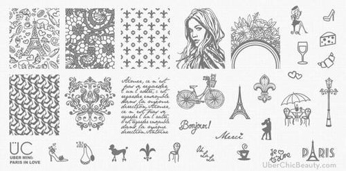 Paris in Love - Uber Mini Nail Stamp Plate | Available at www.girlybitscosmetics.com