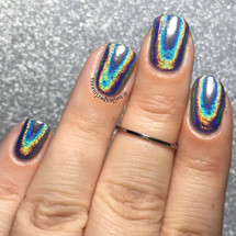 Full Spectrum Holochrome powder pigment (35 micron) rubbed over no-wipe gel top coat. Swatch by NailExperiments
