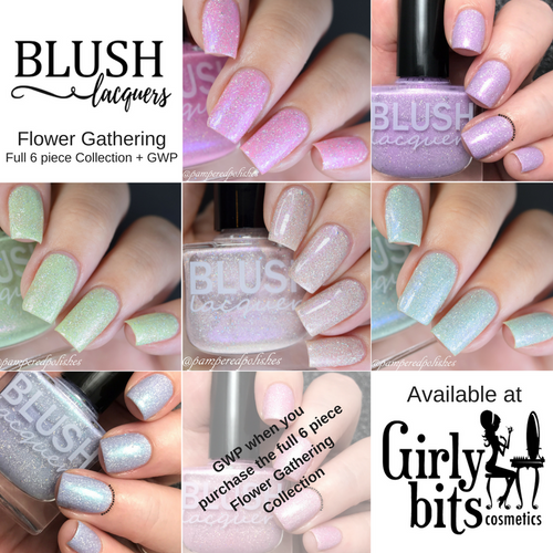 AVAILABLE AT GIRLY BITS COSMETICS www.girlybitscosmetics.com Full 6 piece Flower Gathering Collection + GWP by Blush Lacquers | Photo credit: @dsetterfield74 & @pamperedpolishes