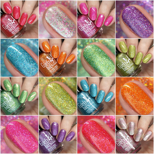 Girly Bits Cosmetics  the Sequins & Satin Pants 7 Piece Collection + GWP | Swatches courtesy of Nail Polish Society