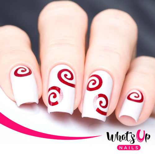 AVAILABLE AT GIRLY BITS COSMETICS www.girlybitscosmetics.com Swirl Stencils by Whats Up Nails | Photo credit: IG@solo_nails