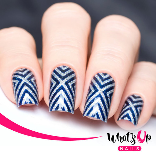 AVAILABLE AT GIRLY BITS COSMETICS www.girlybitscosmetics.com X-Pattern Stencils by Whats Up Nails   Photo credit: IG@solo_nails