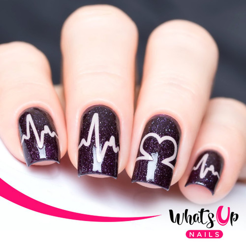 AVAILABLE AT GIRLY BITS COSMETICS www.girlybitscosmetics.com Heartbeat Stencils by Whats Up Nails | Photo credit: IG@solo_nails