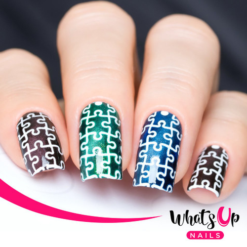 AVAILABLE AT GIRLY BITS COSMETICS www.girlybitscosmetics.com Puzzle Stencils by Whats Up Nails | Photo credit: IG@solo_nails