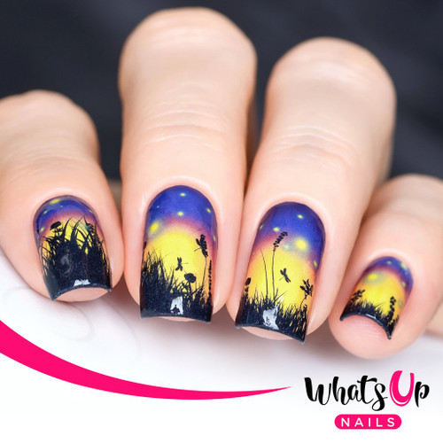 AVAILABLE AT GIRLY BITS COSMETICS www.girlybitscosmetics.com Fields of Fireflies Water Decals by Whats Up Nails | Photo credit: IG@solo_nails