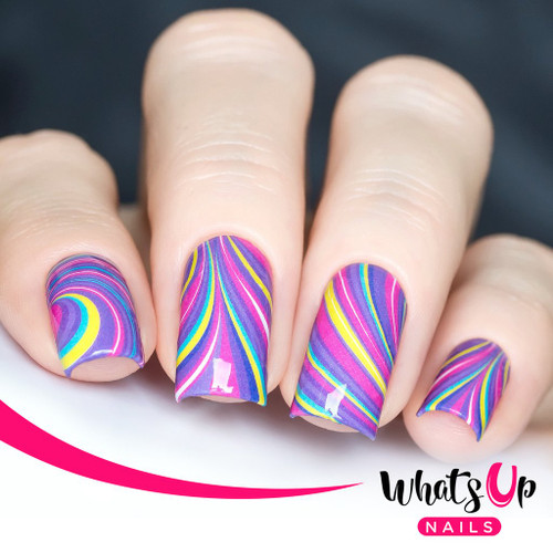 AVAILABLE AT GIRLY BITS COSMETICS www.girlybitscosmetics.com Groovy Watermarble Water Decals by Whats Up Nails | Photo credit: IG@solo_nails