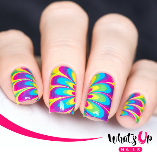 AVAILABLE AT GIRLY BITS COSMETICS www.girlybitscosmetics.com Neon Petals Watermarble Water Decals by Whats Up Nails | Photo credit: IG@solo_nails