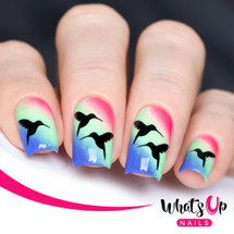 AVAILABLE AT GIRLY BITS COSMETICS www.girlybitscosmetics.com Colibri Stencils by Whats Up Nails | Photo credit: IG@solo_nails