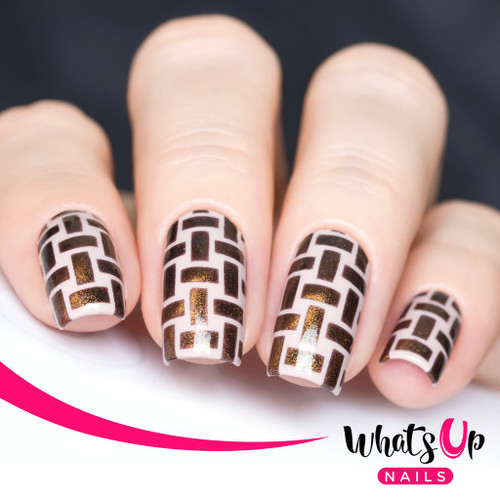 AVAILABLE AT GIRLY BITS COSMETICS www.girlybitscosmetics.com Wicker Basket Stencils by Whats Up Nails   Photo credit: IG@solo_nails