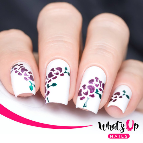 AVAILABLE AT GIRLY BITS COSMETICS www.girlybitscosmetics.com Orchids Stencils by Whats Up Nails   Photo credit: IG@solo_nails