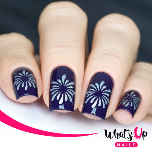 AVAILABLE AT GIRLY BITS COSMETICS www.girlybitscosmetics.com Firework Stencils by Whats Up Nails | Photo credit: IG@solo_nails
