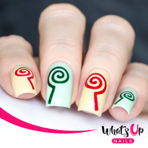 AVAILABLE AT GIRLY BITS COSMETICS www.girlybitscosmetics.com Lollipop Stencils by Whats Up Nails | Photo credit: IG@solo_nails