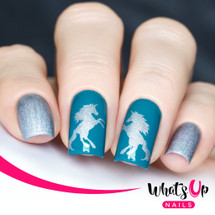 AVAILABLE AT GIRLY BITS COSMETICS www.girlybitscosmetics.com Unicorn Stencils by Whats Up Nails | Photo credit: IG@solo_nails