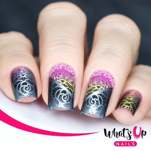 AVAILABLE AT GIRLY BITS COSMETICS www.girlybitscosmetics.com Wrought Iron Roses Water Decals Water Decals by Whats Up Nails   Photo credit: IG@solo_nails