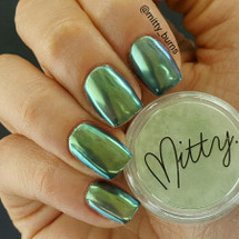 AVAILABLE AT GIRLY BITS COSMETICS www.girlybitscosmetics.com Green Menace Chrome Powder by Mitty