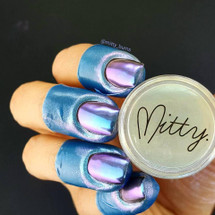 AVAILABLE AT GIRLY BITS COSMETICS www.girlybitscosmetics.com Blue Bullet Chrome Powder by Mitty