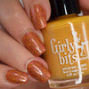 Girly Bits Cosmetics Butternut Leave Me stamped over No Pumpkin Way | Swatch by Manicure Manifesto