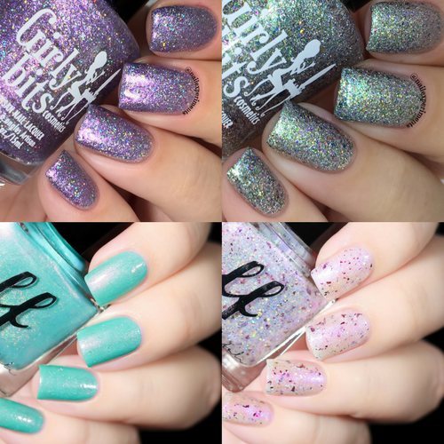 AVAILABLE AT GIRLY BITS COSMETICS www.girlybitscosmetics.comGirly Bits/Femme Fatale Collab (top l to r Where the Sky Ends, Aussie What You Did There, Arctic Crystal, Violet Fire) | Swatches courtesy of Nail Experiments for Girly Bits and De Briz for Femme Fatale
