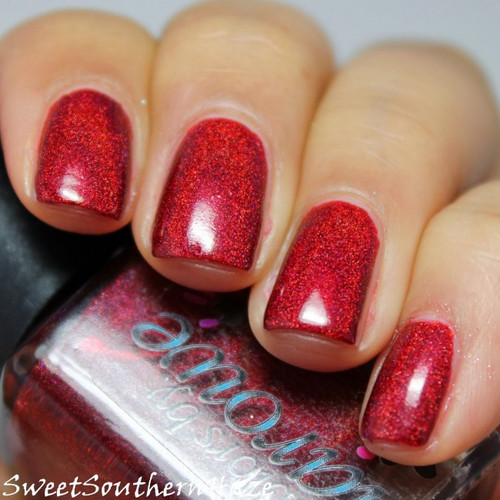 AVAILABLE AT GIRLY BITS COSMETICS www.girlybitscosmetics.com The Mighty Red Baron (The Holos Collection) by Colors by Llarowe | Swatch courtesy of Sweet Southern Haze