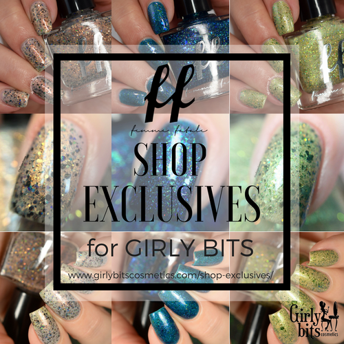 AVAILABLE AT GIRLY BITS COSMETICS www.girlybitscosmetics.com Girly Bits Shop Exclusives (3pc Set) by Femme Fatale | Swatch courtesy of Manicure Manifesto, Nail Experiments and Delishious Nails